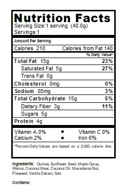 Nutrition Facts Grain Free Granola