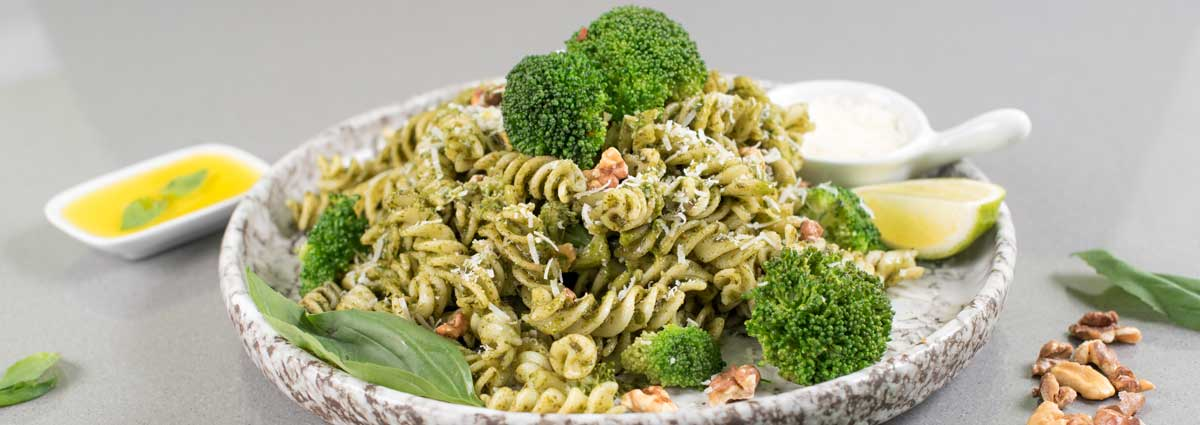 Arugula and Walnut Pesto Pasta with Broccoli