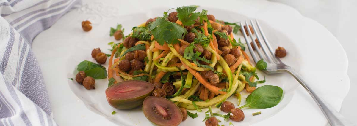 Chickpea, Zucchini & Carrot Salad with Thai Orange Dressing